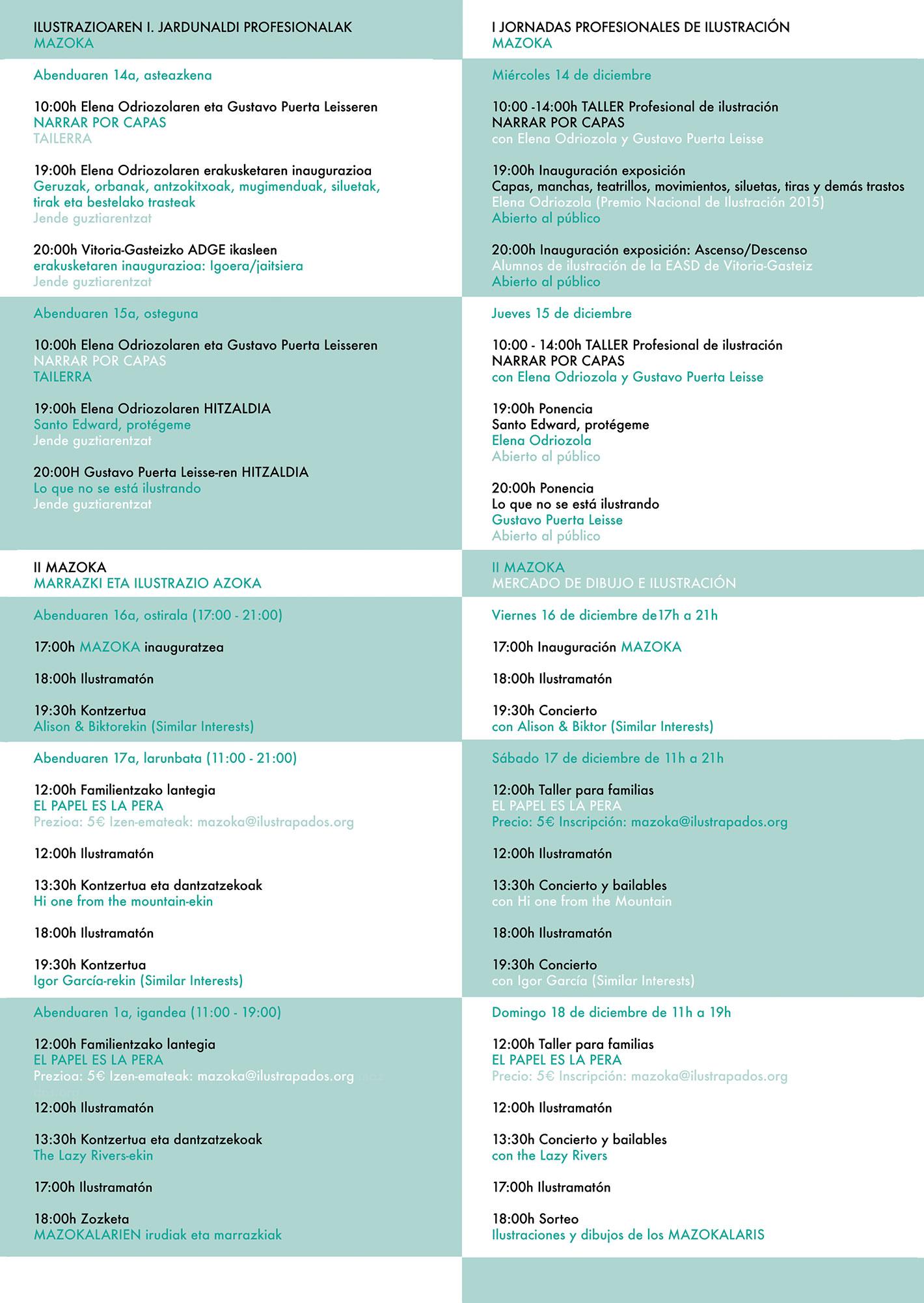 MAZOKA; Programa 2016